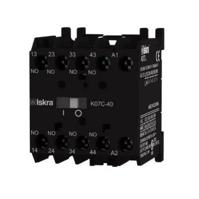 Minicontactor auxiliar 24V 4NO 4A (A1/A2 frontal) Iskra K07C-40