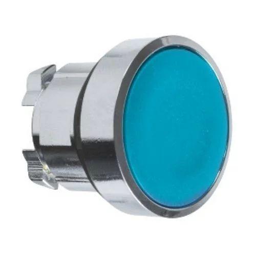 Cabeza de pulsador rasante azul 22mm