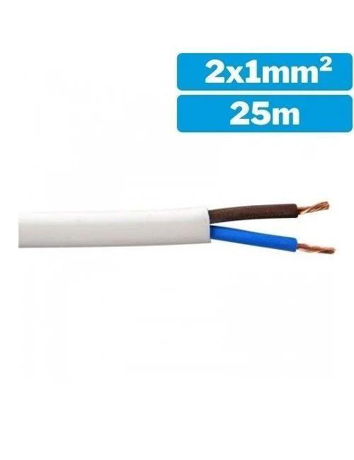 Manguera blanca de 2x1mm² H05VV-F - Rollo 25m