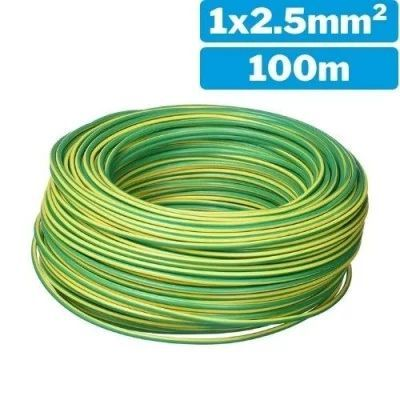 Cable eléctrico unifilar H07Z1-K 1x2.5mm 100m verde/amarillo